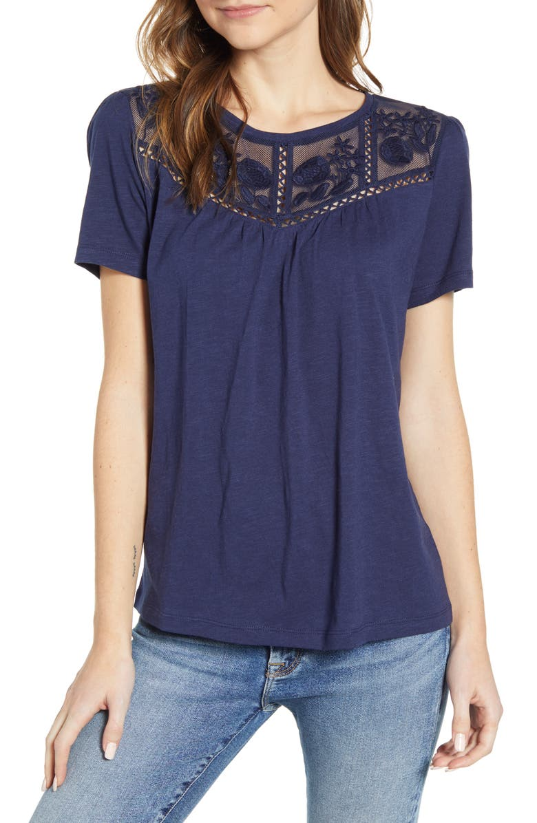 CASLON<SUP>®</SUP> Embroidered Yoke Tee, Main, color, NAVY PEACOAT