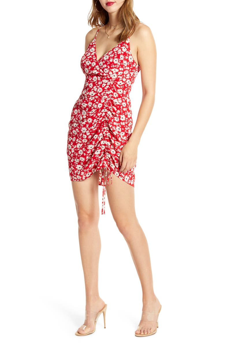 J.O.A. Sleeveless Front Ruched Minidress, Main, color, 600