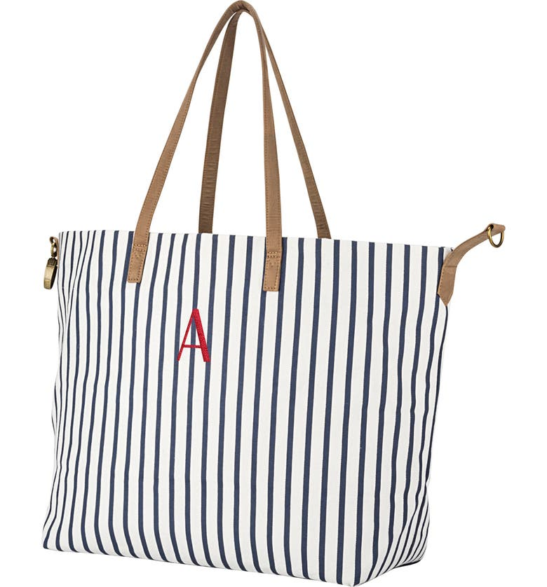 CATHY'S CONCEPTS Monogram Overnight Tote, Main, color, BLUE A