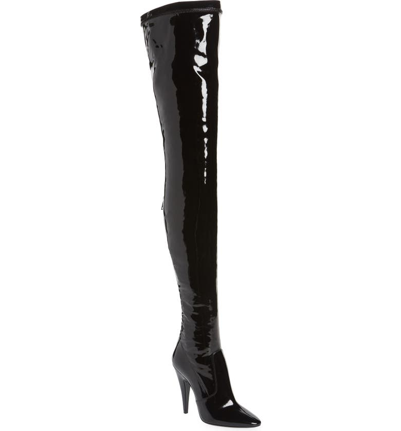 SAINT LAURENT Aylah Pointed Toe Thigh High Boot, Main, color, 001