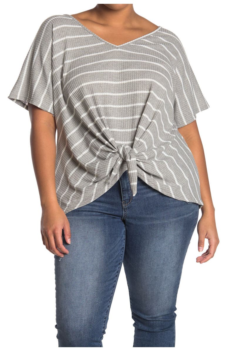 FORGOTTEN GRACE Striped V-Neck Tie Front Top, Main, color, H GRAY/OFF WHITE