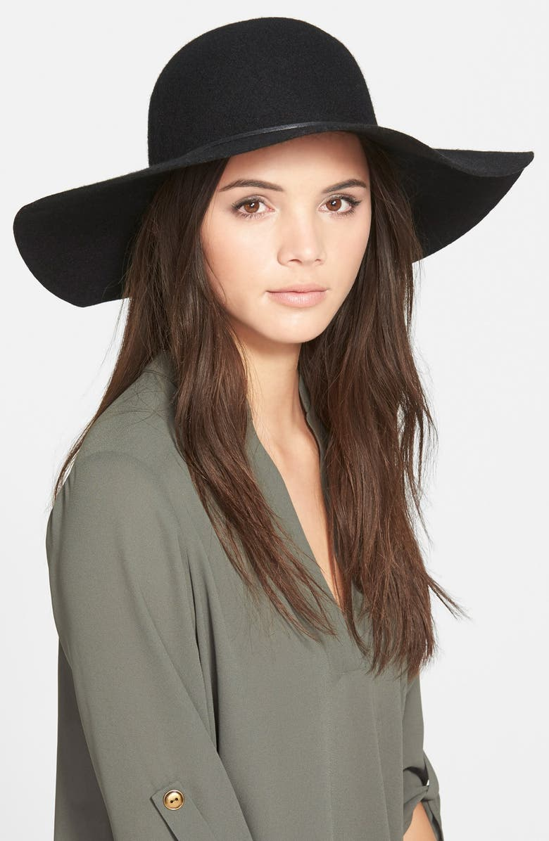 BP. Rope Trim Floppy Felt Hat, Main, color, 001