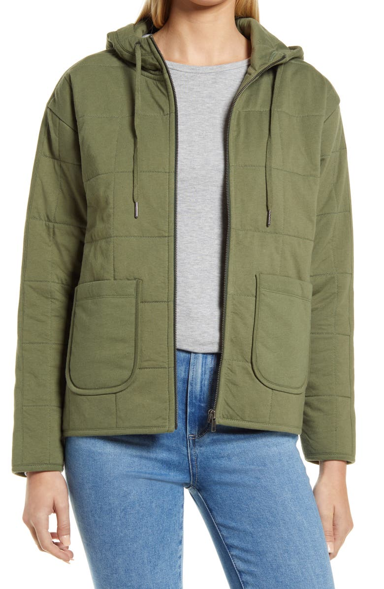 CASLON<SUP>®</SUP> Women's Quilted Zip-Up Hooded Knit Jacket, Main, color, GREEN SORREL
