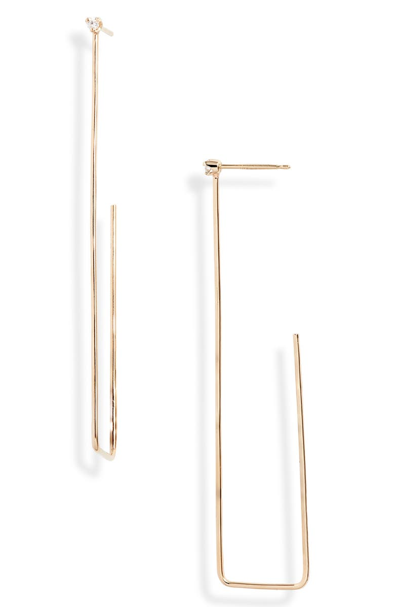 ZOË CHICCO Large Rectangle Hoop Earrings, Main, color, YELLOW GOLD