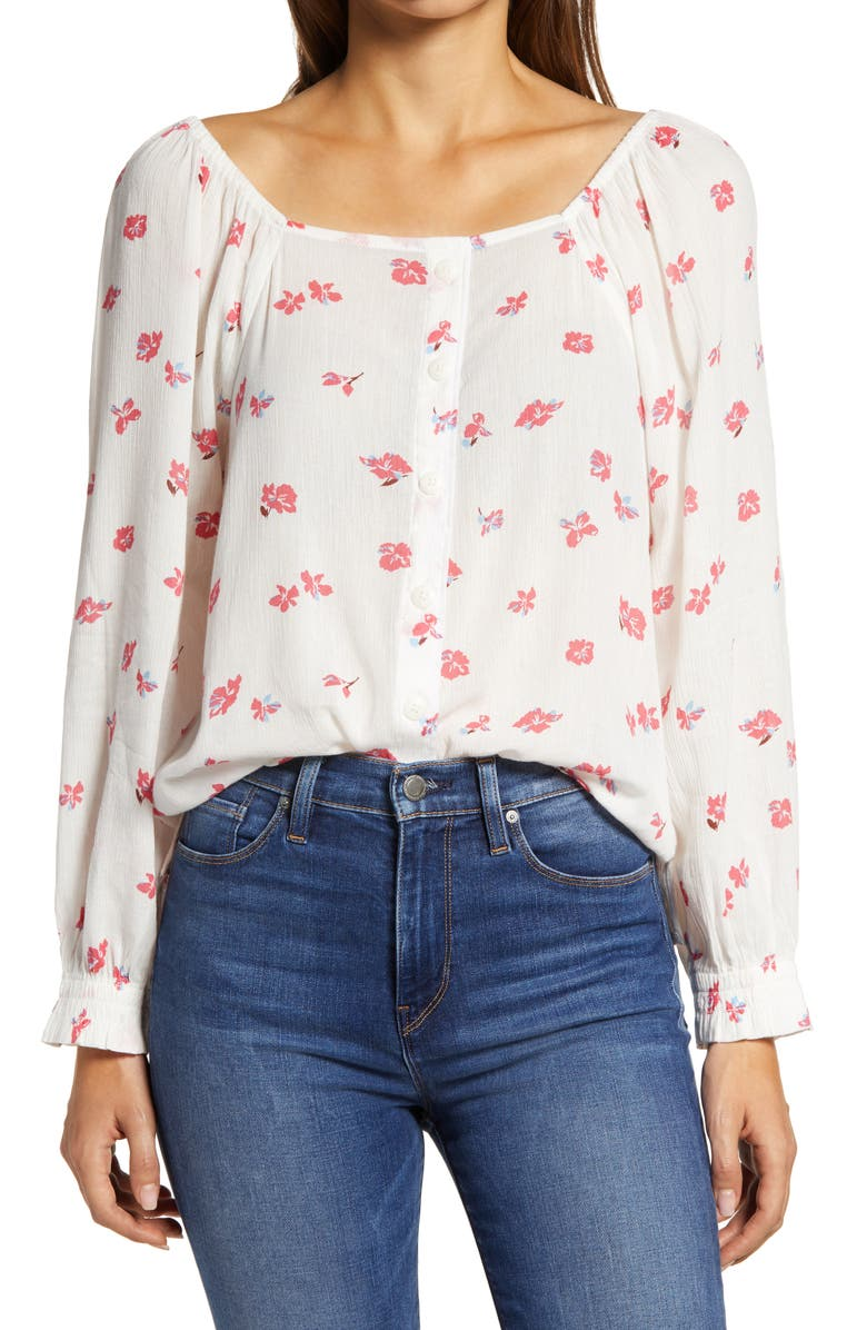 CASLON<SUP>®</SUP> Print Button Front Long Sleeve Top, Main, color, 900