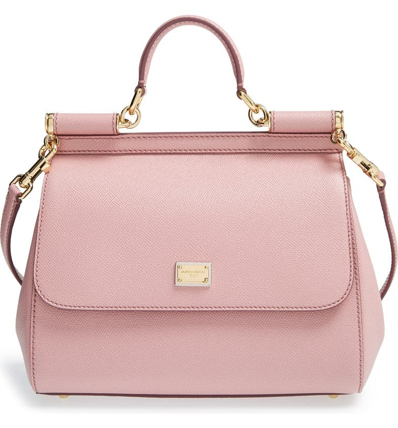 DOLCE&GABBANA Small Sicily Leather Satchel, Main, color, PINK