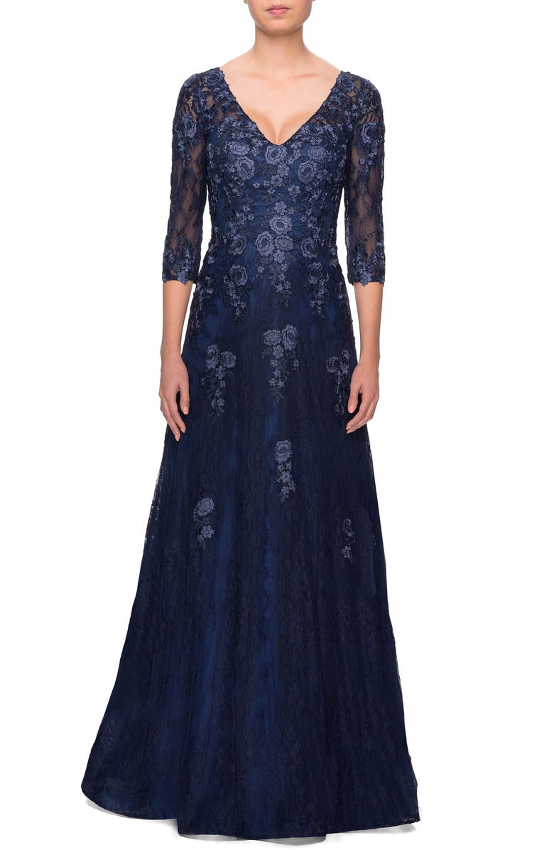 LA FEMME Embroidered Lace Gown, Main, color, NAVY