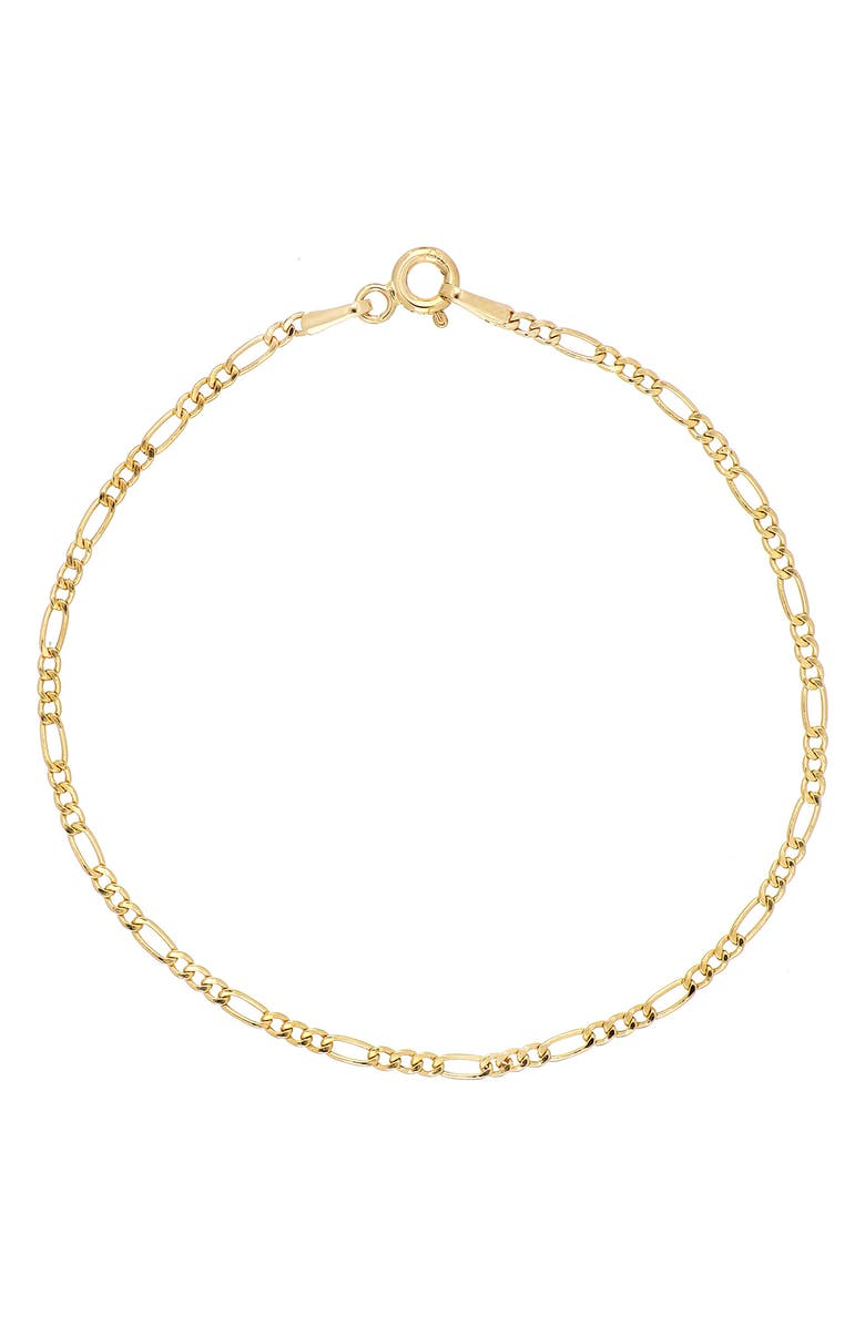 BONY LEVY 14K Gold Thin Figaro Chain Bracelet, Main, color, YELLOW GOLD