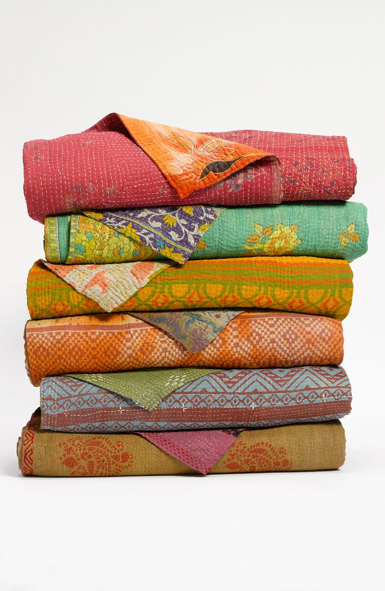 SUDHA PENNATHUR Kantha Hand Crafted Throw, Main, color, MULTI