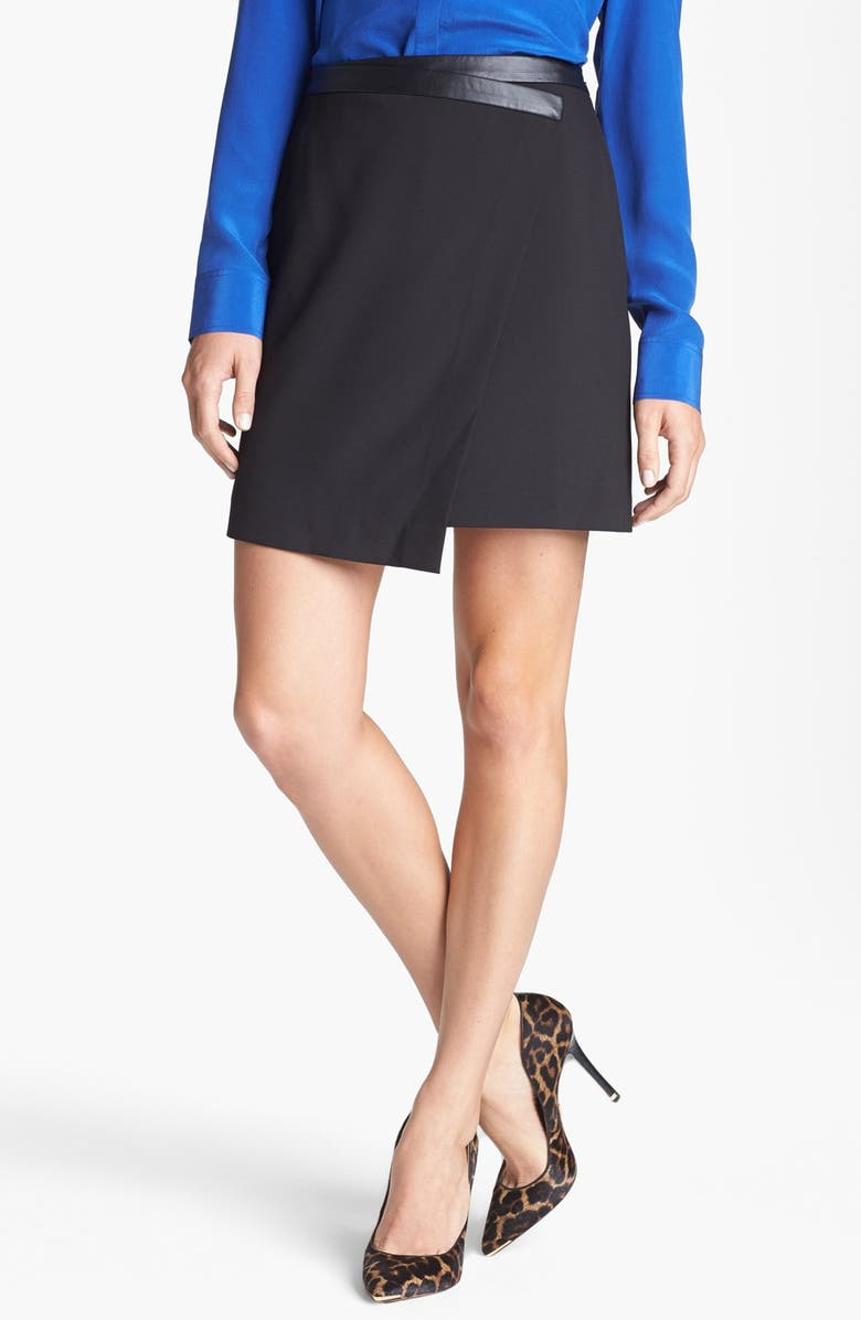 TROUVÉ Asymmetrical Faux Wrap Skirt, Main, color, 001