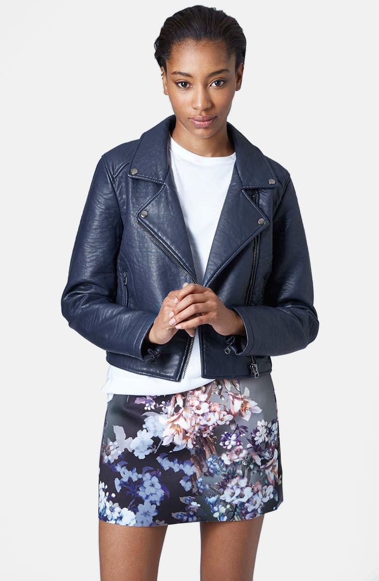 TOPSHOP Faux Leather Biker Jacket, Main, color, 410