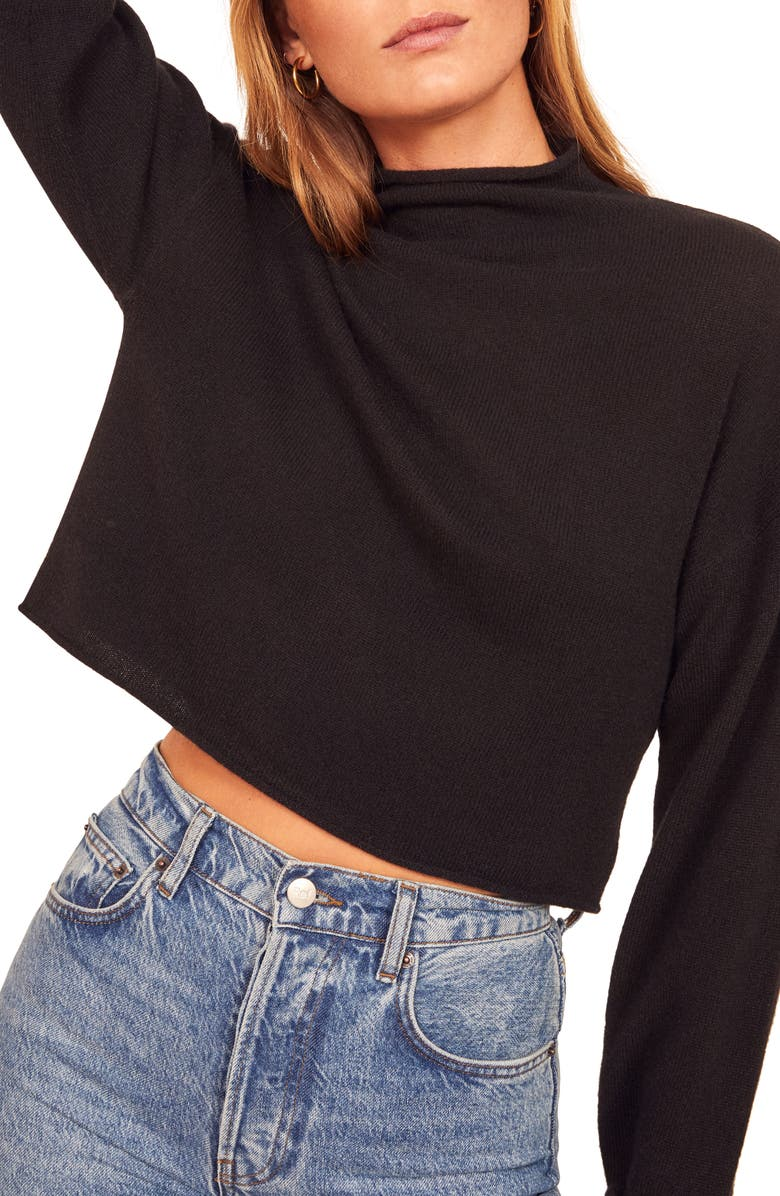 REFORMATION Cashmere & Wool Crop Roll Neck Sweater, Main, color, 001