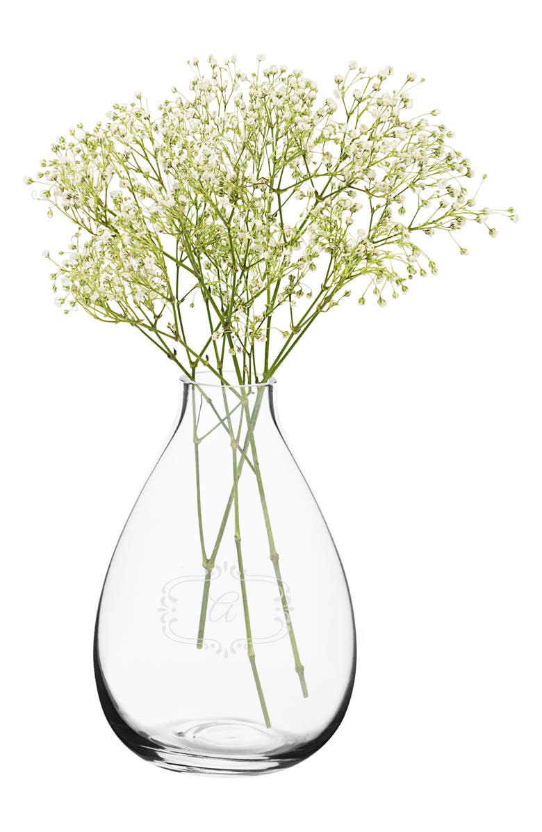 CATHY'S CONCEPTS Monogram Glass Vase, Main, color, 100