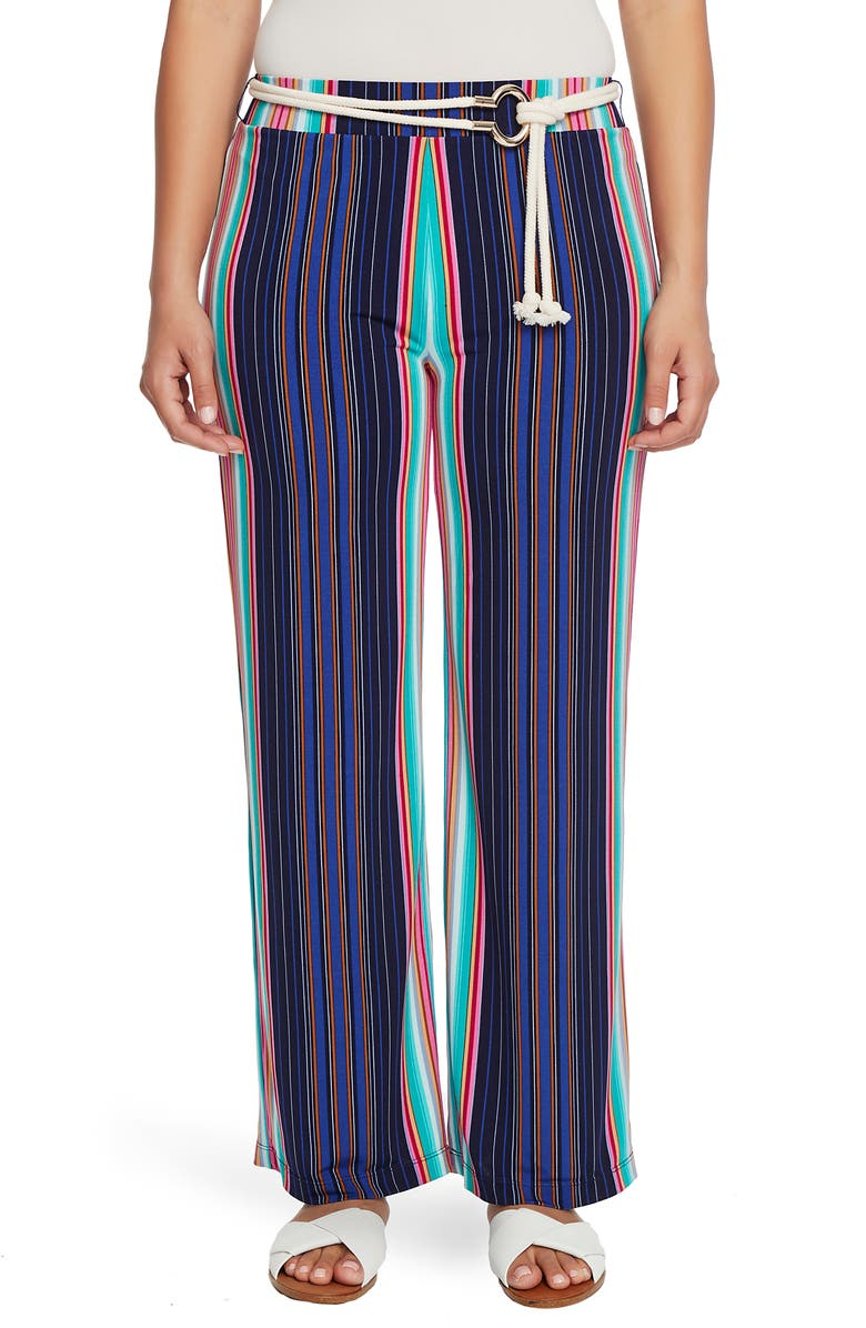 CHAUS Stripe High Waist Belted Pants, Main, color, 400