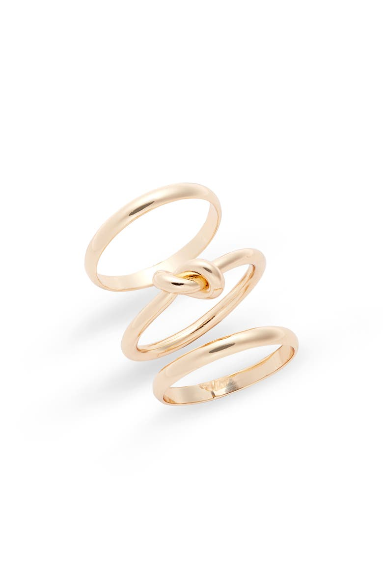 HALOGEN Knotted Stackable Ring Set, Main, color, GOLD