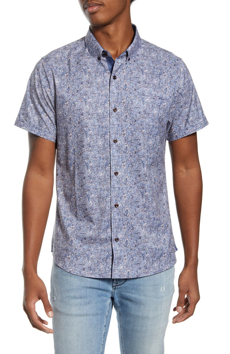 7 DIAMONDS House of Love Slim Fit Floral Short Sleeve Button-Down Shirt, Main, color, PINK