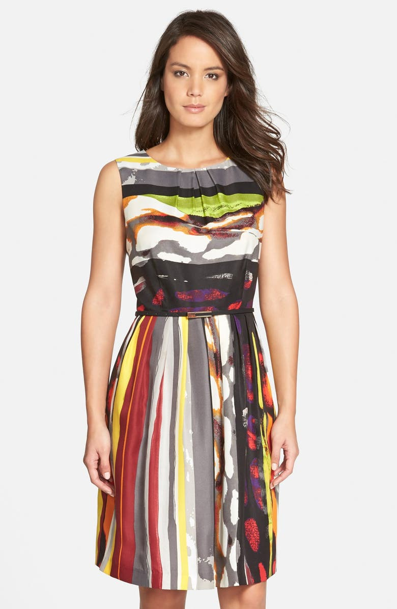 ELLEN TRACY 'Galaxy Stripe' Belted Print Twill Fit & Flare Dress, Main, color, 031