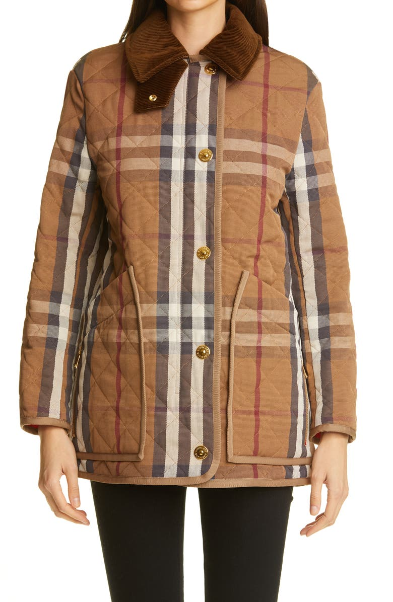 BURBERRY Check Quilted Barn Jacket, Main, color, BIRCH BROWN