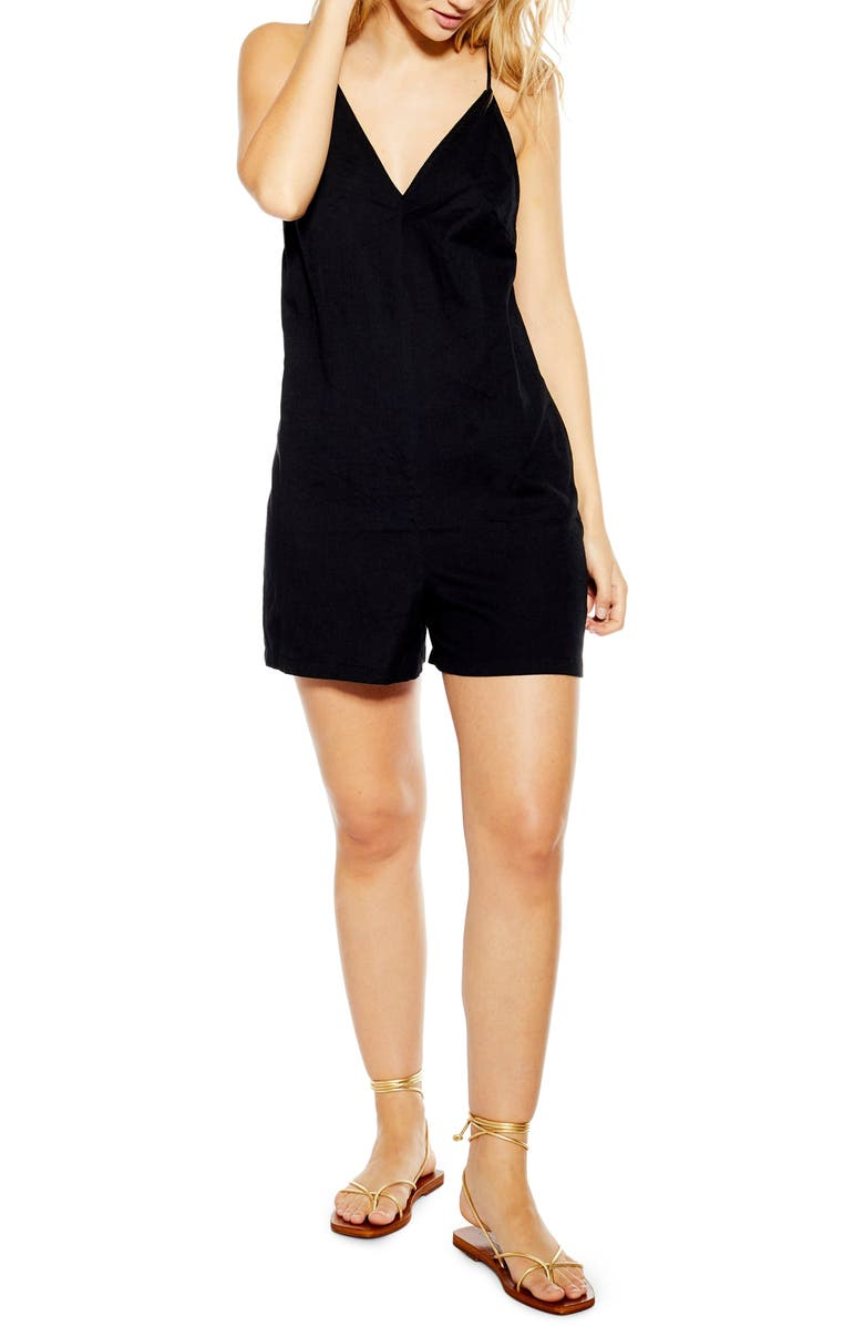 TOPSHOP Strappy Sleeveless Playsuit, Main, color, BLACK