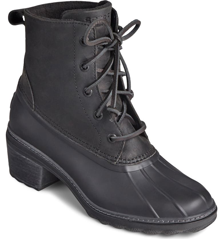 SPERRY Saltwater Duck Bootie, Main, color, BLACK LEATHER