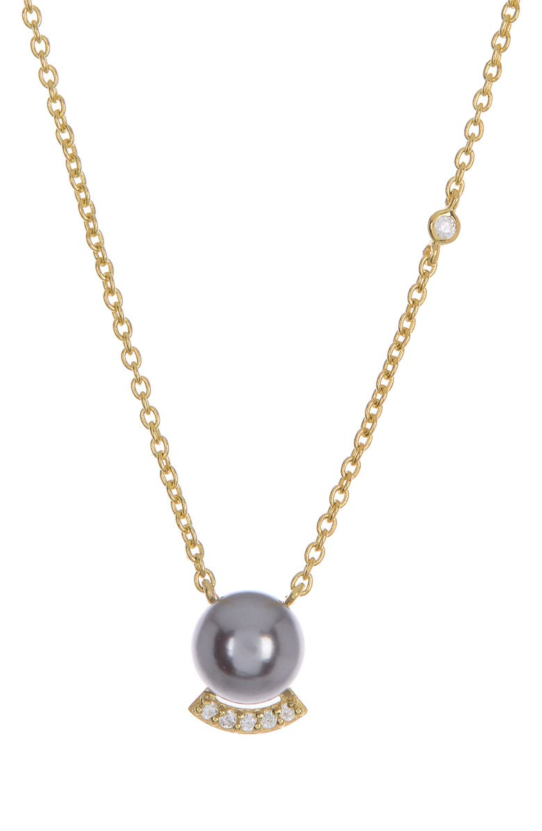 PAIGE NOVICK 14K Yellow Gold Plated Sterling Silver 6mm Black Pearl Pave White Zirconia Pendant Necklace, Main, color, 14K YG PLATED SILVER
