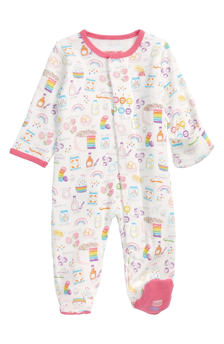 MAGNETIC ME Rainbow Sprinkles Fitted One-Piece Pajamas, Main, color, PINK