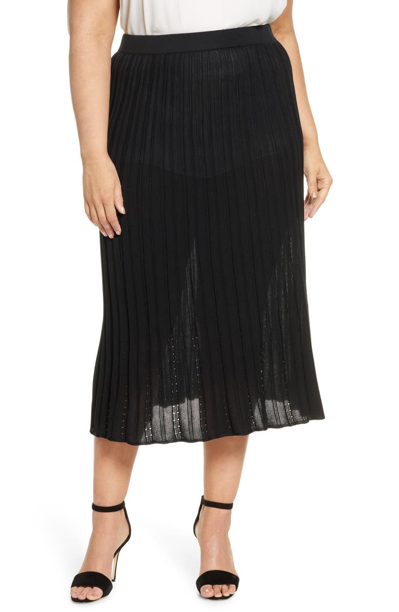 MING WANG Pointelle Knit Skirt, Main, color, 001
