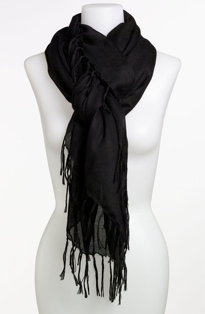 ECHO 'All Over Fringe' Scarf, Main, color, 001