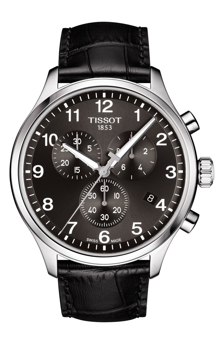 TISSOT Chrono XL Collection Chronograph Leather Strap Watch, 45mm, Main, color, 001