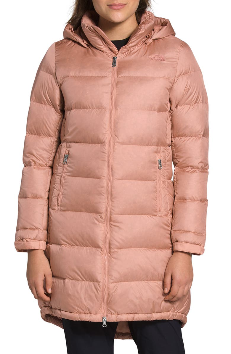 THE NORTH FACE Metropolis II Water Repellent 550 Fill Power Down Hooded Parka, Main, color, PINK CLAY