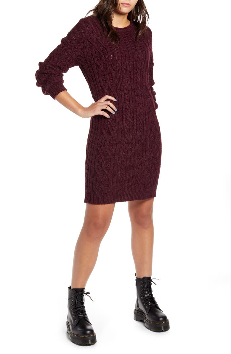 BP. Long Sleeve Cable Knit Sweater Dress, Main, color, 930