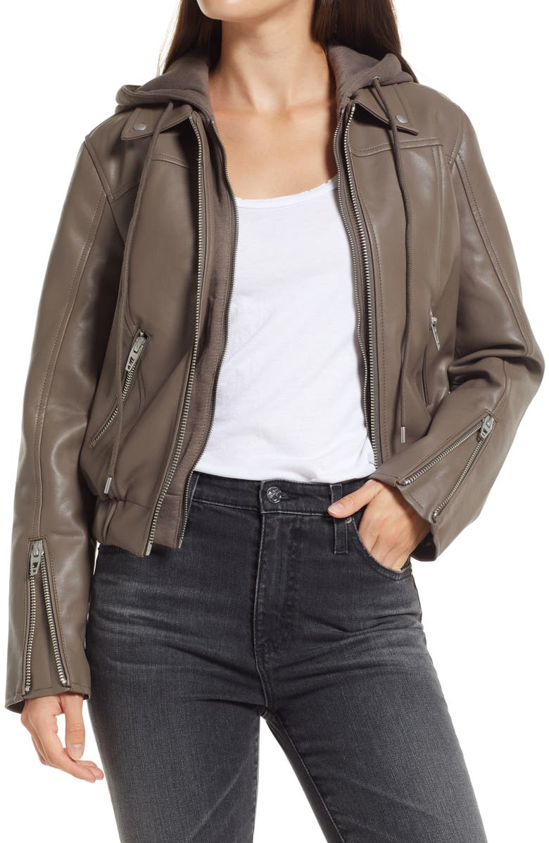 BLANKNYC Faux Leather Bomber Jacket with Removable Hood, Main, color, WEEKEND RETREAT