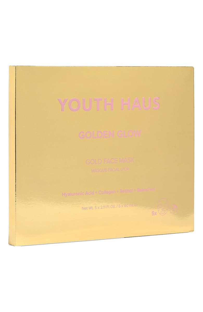 SKIN GYM 5-Pack Youth Haus Golden Glow Face Mask, Main, color, NO COLOR