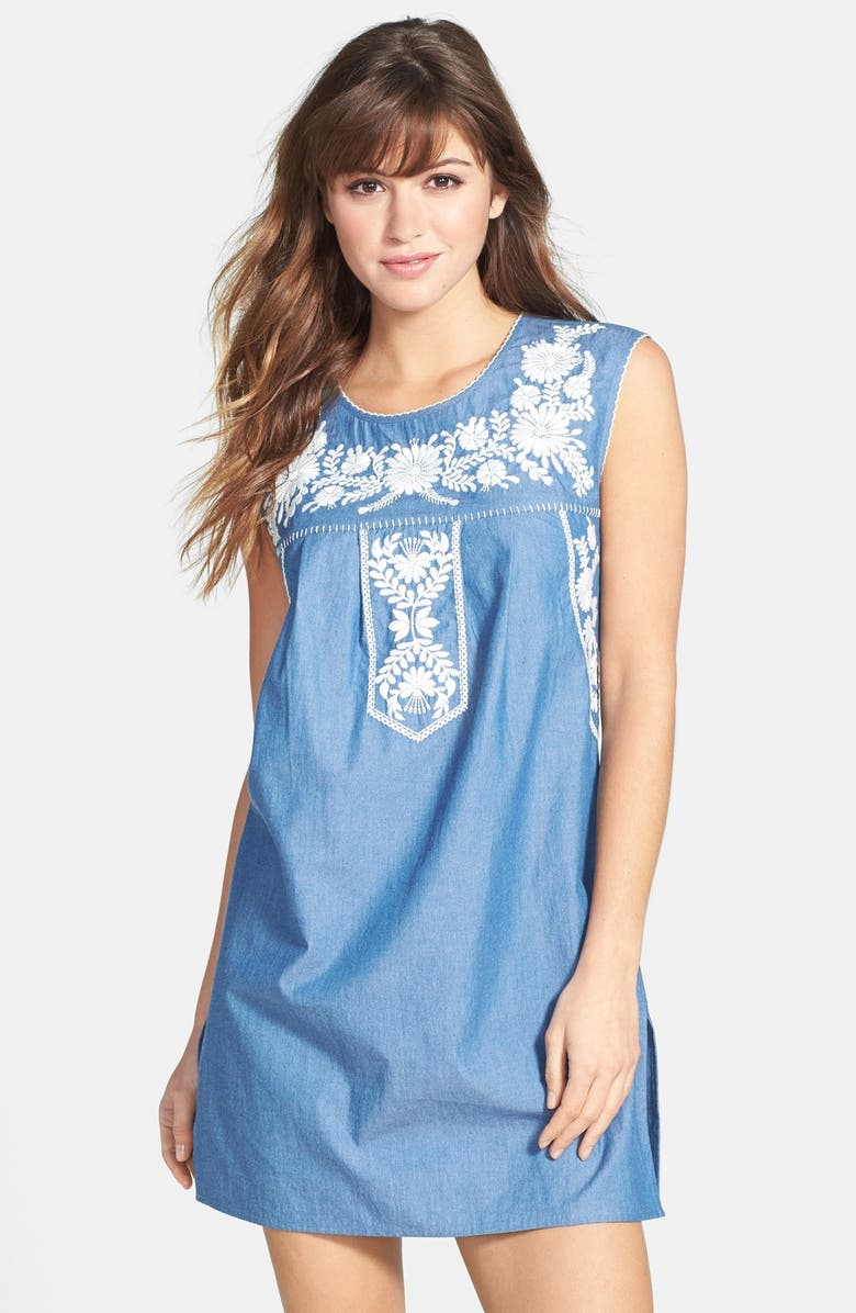 TORY BURCH 'Calita' Embroidered Dress, Main, color, CHAMBRAY/ IVORY
