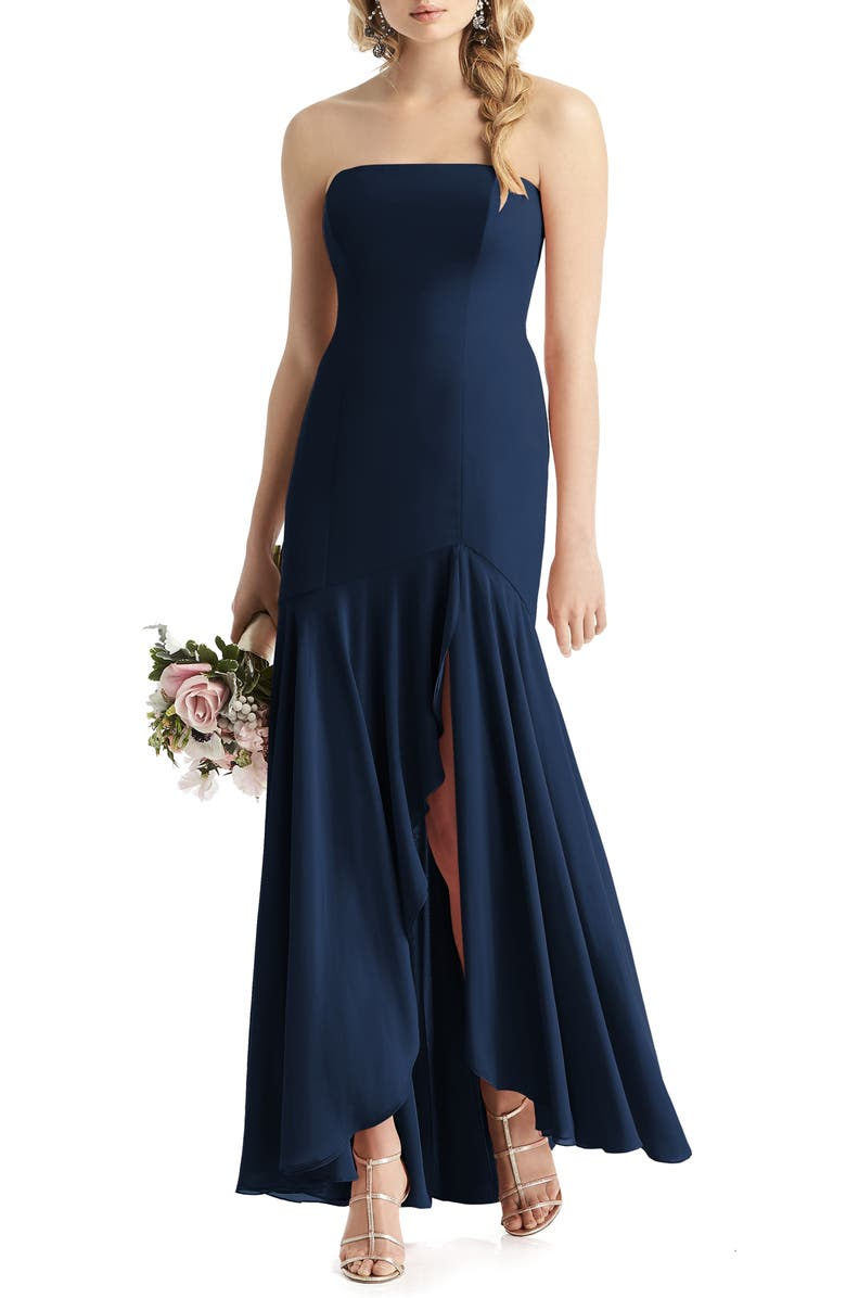 AFTER SIX Strapless High/Low Matte Chiffon Gown, Main, color, MIDNIGHT