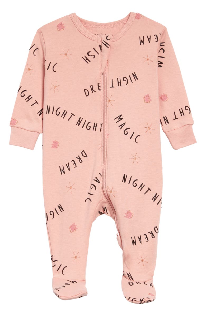 PETIT LEM Dream Print Organic Cotton Fitted One-Piece Pajamas, Main, color, LIGHT PINK