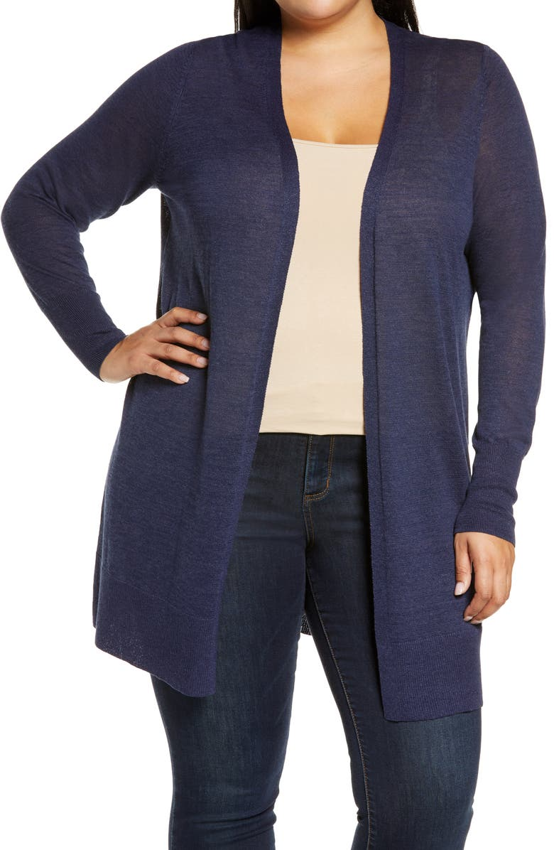 HALOGEN<SUP>®</SUP> Long Cardigan, Main, color, NAVY PEACOAT