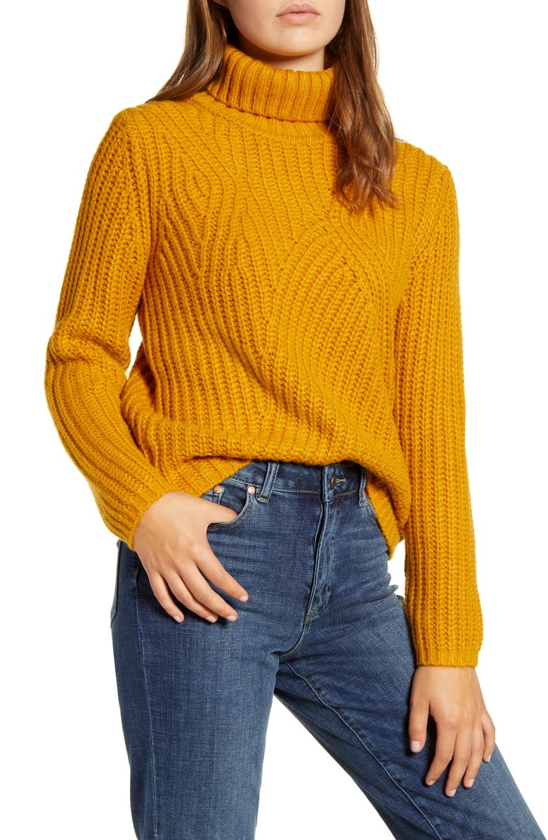 LUCKY BRAND Traveling Ribbed Turtleneck Sweater, Main, color, MUSTARD