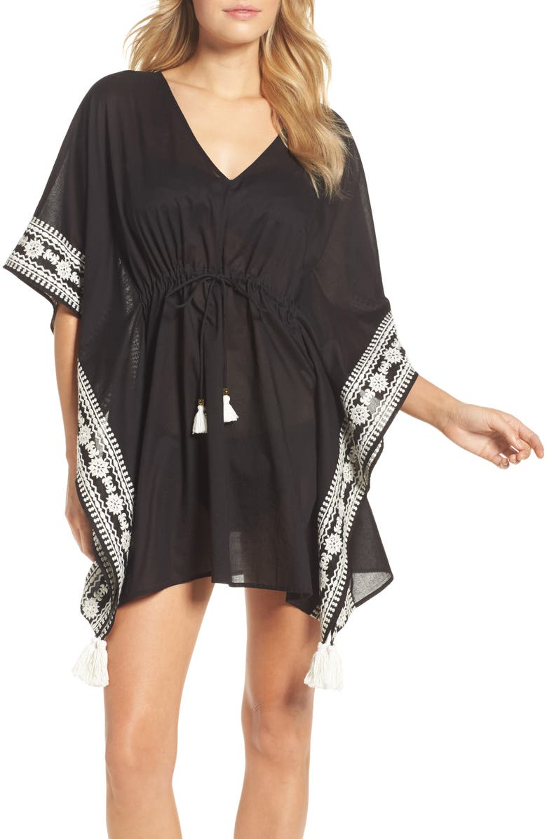 TORY BURCH Ravena Shibori Stripe Cover-Up Caftan, Main, color, 001
