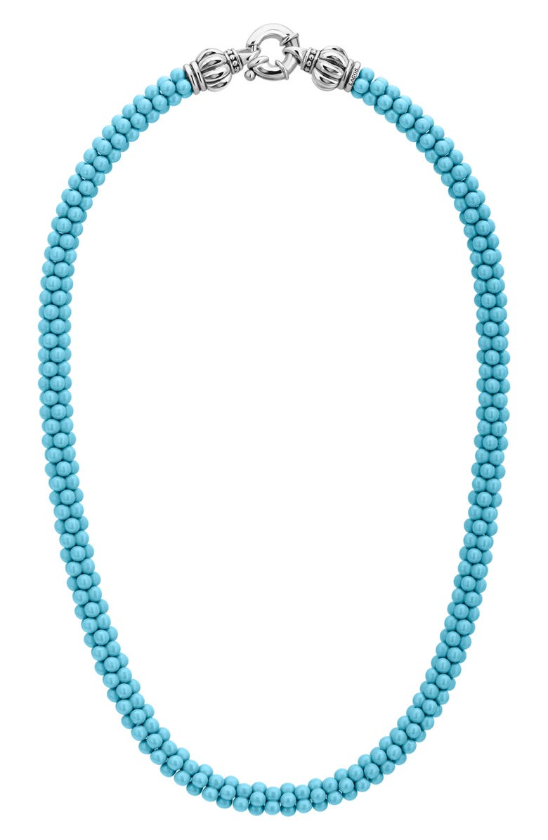 LAGOS Blue Caviar Ceramic Rope Necklace, Main, color, SILVER/ TURQUOISE