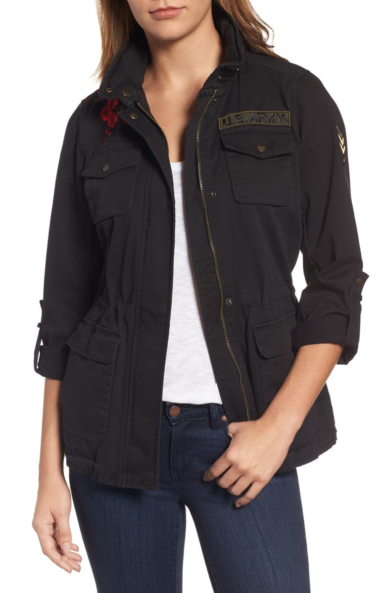 VINCE CAMUTO Embroidered Cotton Twill Utility Jacket, Main, color, BLACK