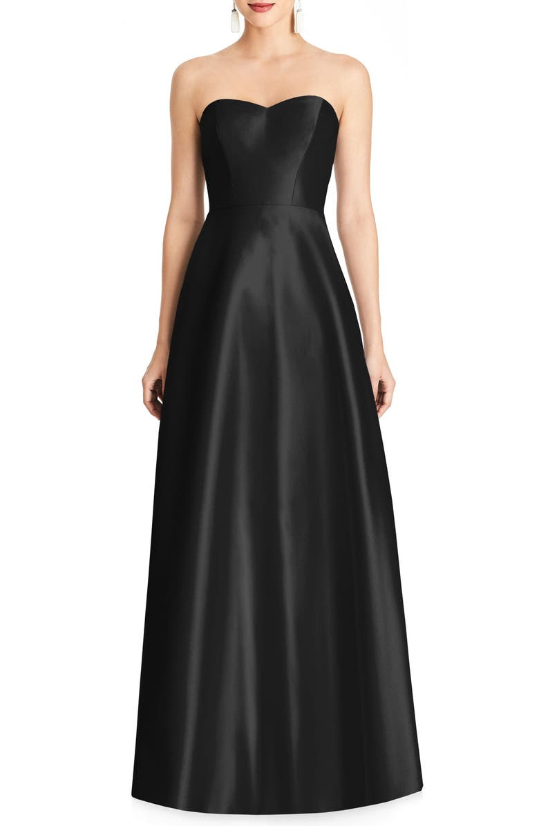ALFRED SUNG Strapless Satin A-Line Gown, Main, color, BLACK