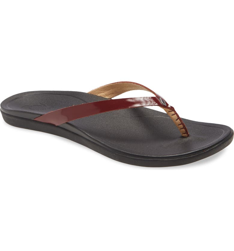 OLUKAI 'Ho Opio' Leather Flip Flop, Main, color, RED GINGER PATENT LEATHER