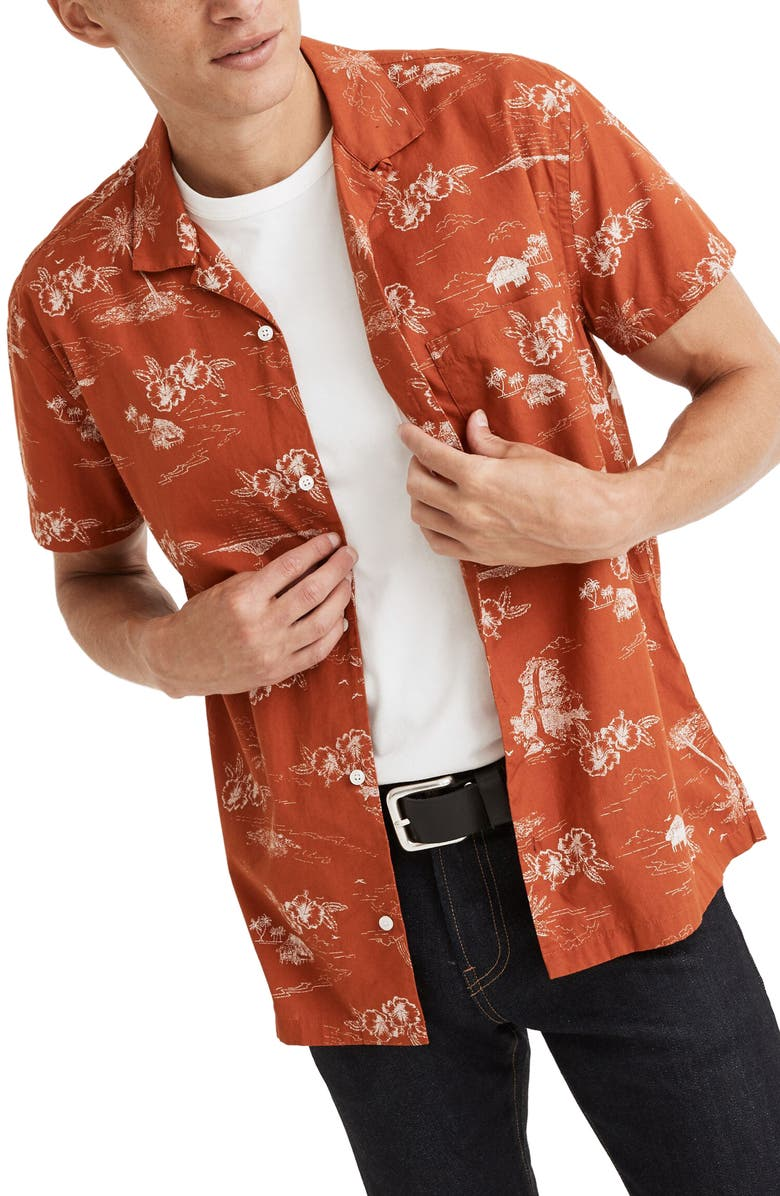 MADEWELL Paradise Toile Regular Fit Short Sleeve Button-Up Camp Shirt, Main, color, RUSTY TORCH