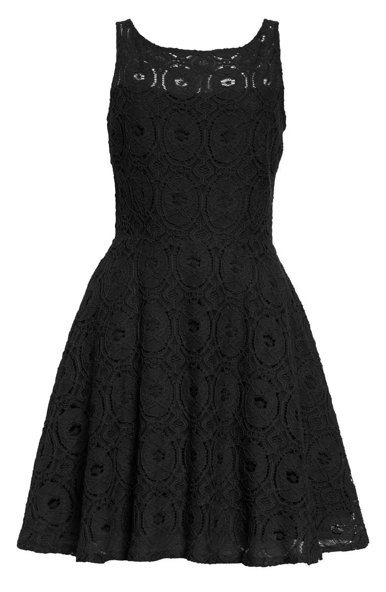 BB DAKOTA BY STEVE MADDEN BB Dakota Renley Lace Fit & Flare Minidress, Main, color, 001