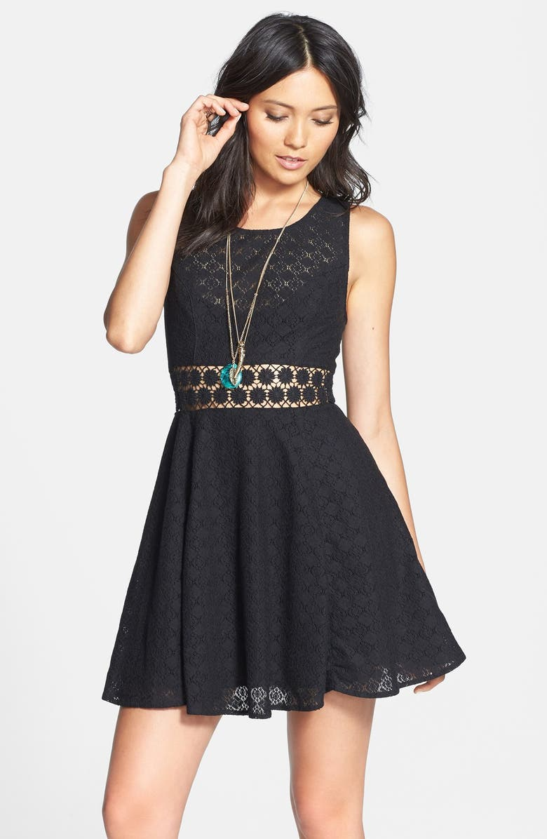 FREE PEOPLE 'Daisy' Lace Fit & Flare Dress, Main, color, 001
