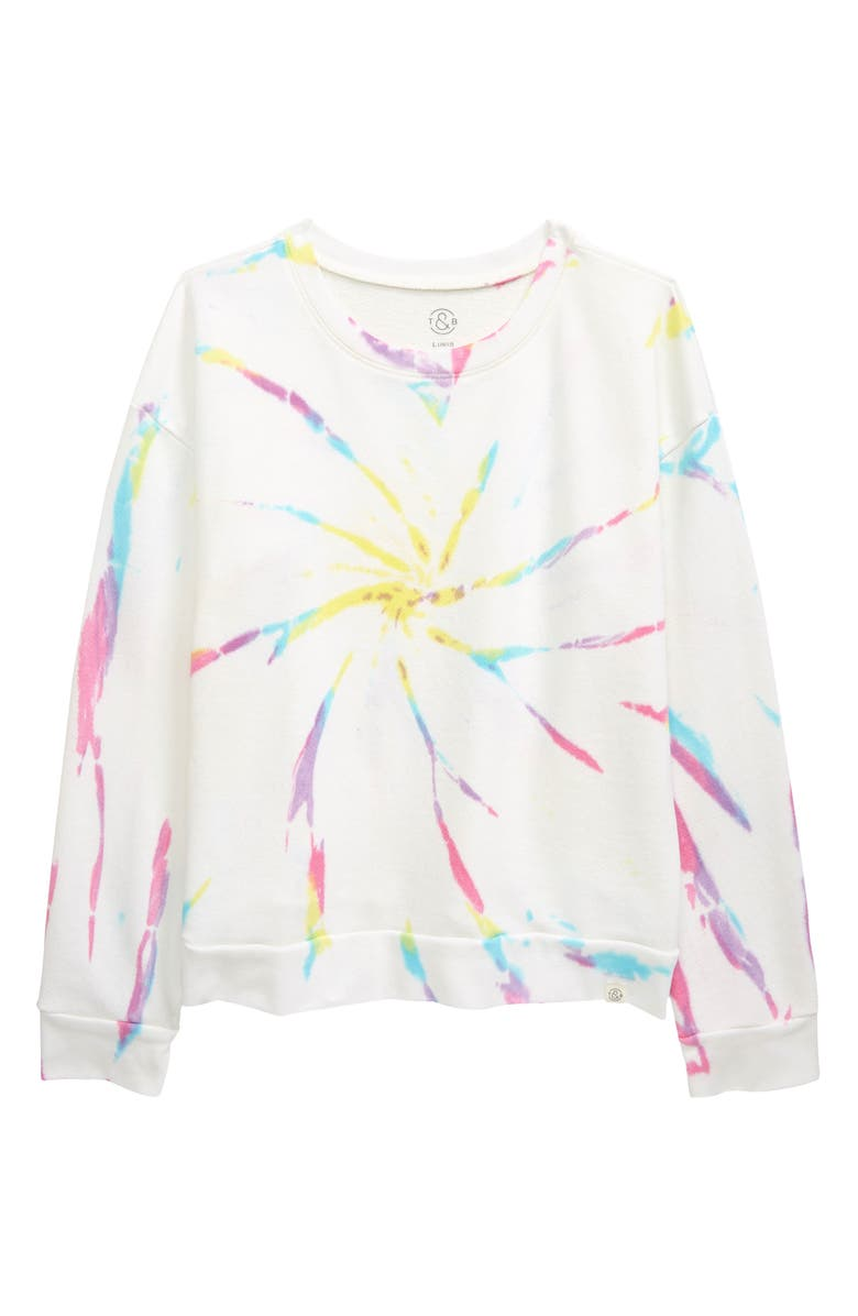 TREASURE & BOND Kids' Oversize Print Long Sleeve T-Shirt, Main, color, WHITE RAINBOW WASH
