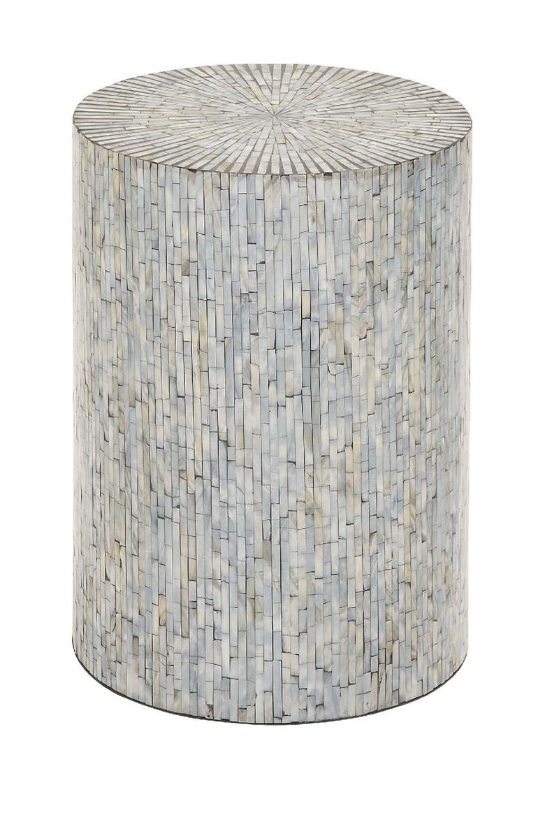 WILLOW ROW Contemporary Iridescent Shell Inlaid Wooden Accent Table, Main, color, GREY