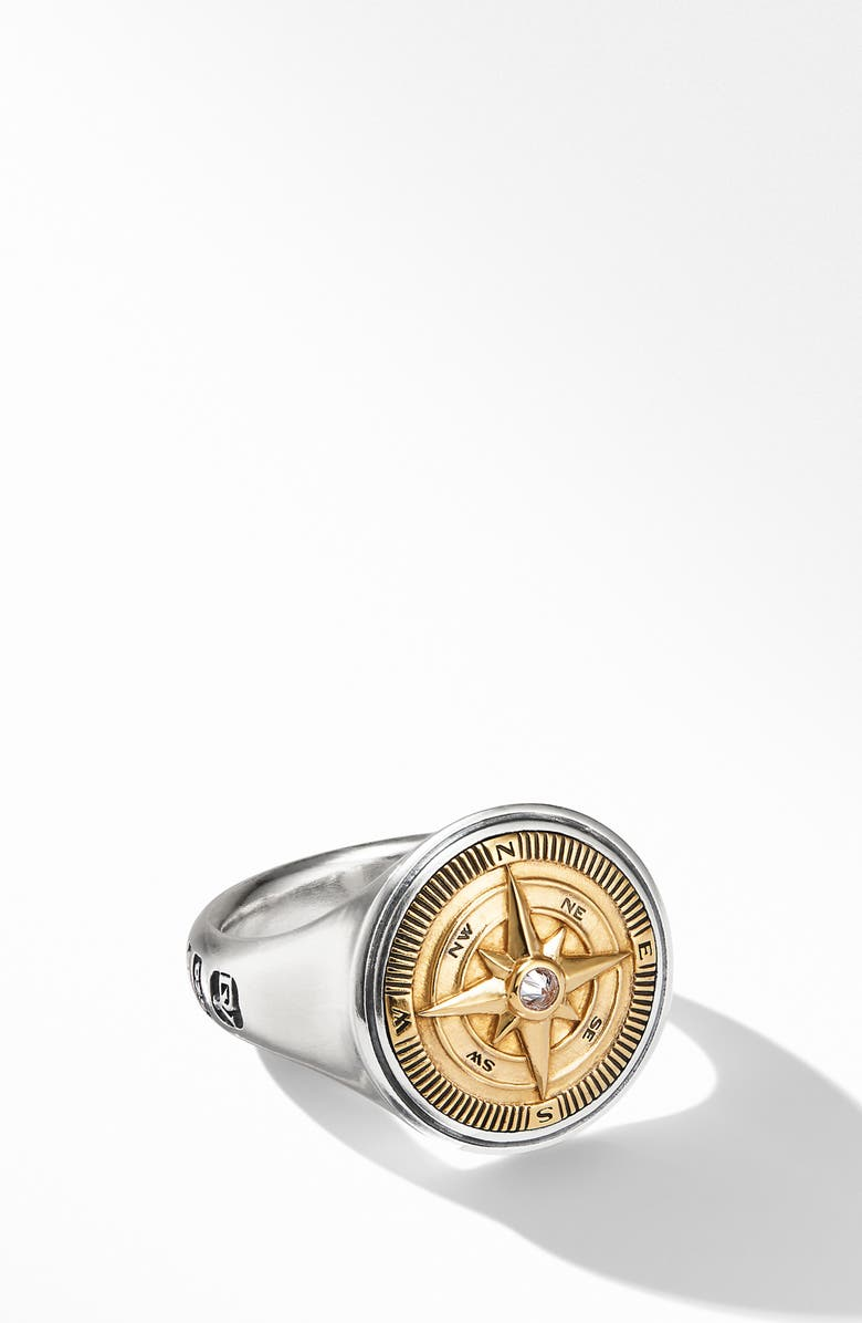 DAVID YURMAN Maritime<sup>®</sup> Compass Signet Ring with 18K Yellow Gold and Center Diamond, Main, color, 710