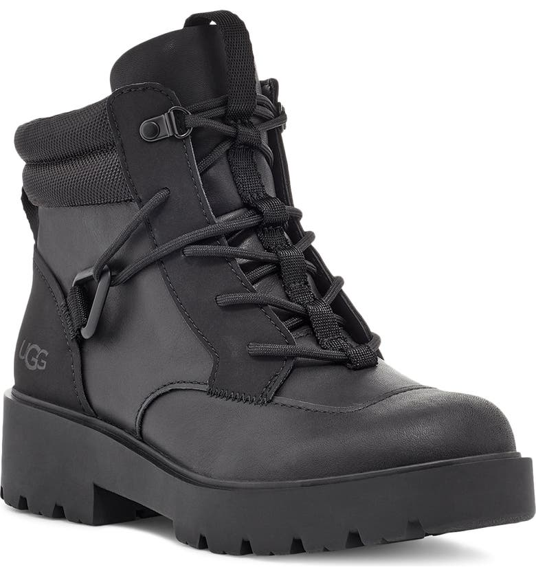 UGG<SUP>®</SUP> Tioga Waterproof Hiker Boot, Main, color, BLACK LEATHER
